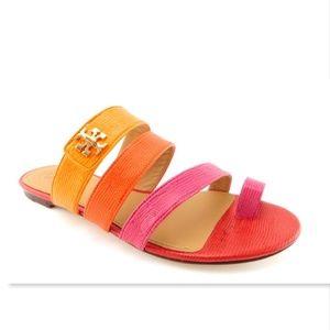New TORY BURCH Logo Color Block Toe Ring Sandals 8